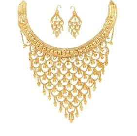 Mansiyaorange Original looK One Gram Gold Neckalce Set For Women