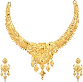 Mansiyaorange Party Wedding Wear One g Gold Original Wax Forming Work Premium Golden Necklace Jewellery Set For Women(5 inch LONG)