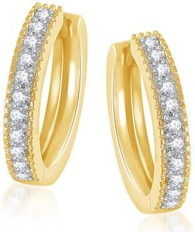 Meenaz Bali Earrings For Girls & Women Gold Plated In American Diamond B146