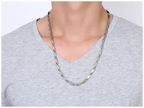 901866e6f7f Meenaz Branded Men Jewellery Valentine Silver Chain Necklace for Men  Husband Boys Boyfriend Gents Mens Chain