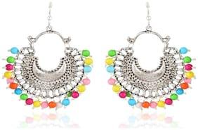 Meenaz Fashion Jewellery Traditional Oxodised German Silver pearl Chandbali Kundan Afghani Tribal Earrings for women partywear stylish girls Multicolour beads - Oxodised silver earrings-105