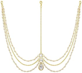 Meenaz Hair Jewellery Traditional Bridal Wedding Gold Pearl Chain Mathapatti Necklace Maang Tikka Jewellery Set For women girls Tika - Maang Tikka-108