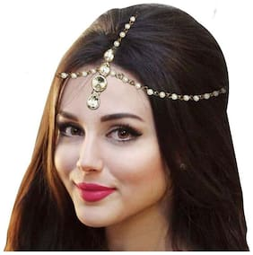 Meenaz Hair Jewellery Traditional Bridal Wedding Gold Pearl Chain Mathapatti Necklace Maang Tikka Jewellery Set For women girls Tika - Maang Tikka-104