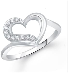 Meenaz Heart Ring Silver Plated For Girls And Women Valentine Gifts Fr242