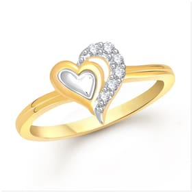 Meenaz Heart Ring Gold Plated For Girls And Women Valentine Gifts Fr380