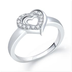 Meenaz Heart Ring Silver Plated For Girls And Women Valentine Gifts Fr209