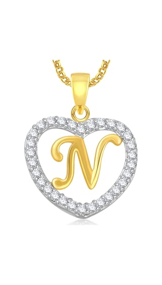 d plated pendant letter chain in heart locket with alphabet buy gold american dp jewellery diamond meenaz