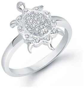 Meenaz tortoise Ring For Men & Women Silver Plated In American Diamond FR184