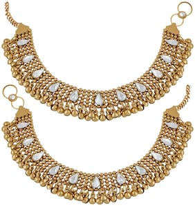 Meenaz Traditional Jewellery Gold Oxodised Chain Payal Anklets for Women/Anklet for Girls Stylish Party wear Necklace Jewellery Set for women girls- Anklet-109