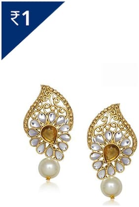 Meenaz Traditional Earrings Fancy Party Wear Kundan Moti Daimond Earrings For Women - T305