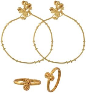 Memoir 24KT Yellow Gold Plated;Combo of Single Strand;Simple;Sober;Payal;Pajeb Anklet;with Matching Gold Plated Toerings;Women Fashion Traditional
