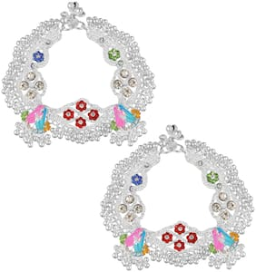 Memoir Brass Silverplated Broad and Heavy Ethnic Payal Pajeb Anklet Women Traditional Jewellery (AKRM6548)