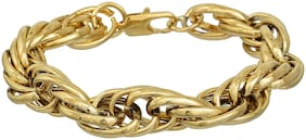 Memoir Brass, 24KT Yellow Gold Plated,8 inch/44g/12mm Thick,Long Double Oval Link Bracelet