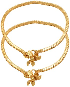 Memoir Brass Gold plated Snake chain design flat payal pajeb Anklet Jewellery Women Brass Anklet (Pack of 2)