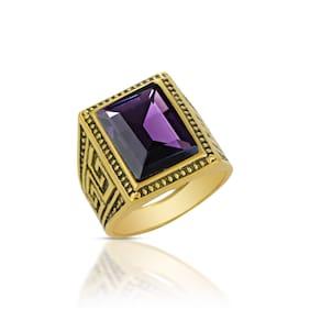 Memoir Brass Gold Plated Big And Heavy Amethyst Finger Ring Men Fashion