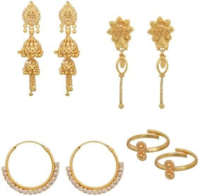 Memoir Brass Gold plated Combo of 3 different styles earrings with matching toe ring;Combo jewellery