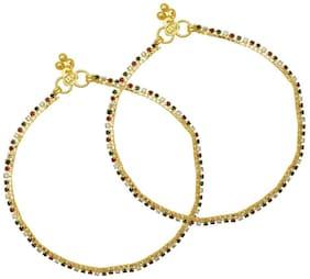 Memoir Colorful Single Liner Rich Look Brass Anklet (Pack of 2)