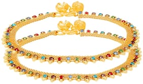 Memoir Gold Plated Flat Chain;Colourful CZ Studded Rich payal pajeb Ghungroo Anklet for Women...
