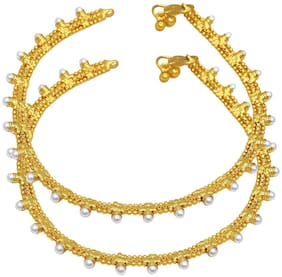 Memoir Gold plated Handmade;pearl studded Bridal wedding payal pajeb Anklet Traditional Women Girls Brass Anklet (Pack of 2)
