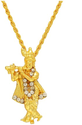 Memoir Gold Plated Lord Krishna Religious God Pendant with Chain;Locket Necklace Temple Jewellery for Men & Women