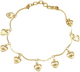 Memoir Gold Plated Brass Heartshape Charms Sleek Bracelet