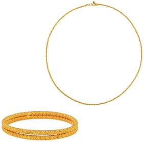 Memoir Gold Plated Rope Design KadaBangle;with Matching Rope Chain;for Women