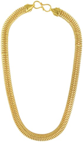 Memoir Gold Plated, Flat Snake Chain Design, 10mm Broad, Light Weight Chain Necklace Fashion by Memoir