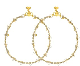 Memoir Gold plated;CZ heart shape design;Payal Pajeb;Anklet Women Traditional Fashion Latest stylish Brass Anklet ()