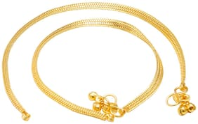 Memoir Gold Plated Flat Snake Chain Design ghungroo Anklet for Women...