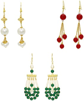 Memoir Pearls and Beaded colourful stylish 3 pairs in combo earrings