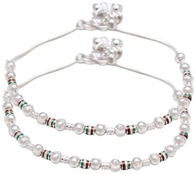 Memoir Silver Plated Meenakari and Carved Balls;Single Strand Ethnic Fashion Anklet payal pajeb Jewellery for Women