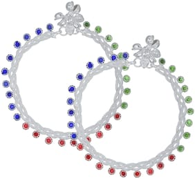Memoir Silver Plated Twisted multistrand Colourful Crystal Traditional Payal Pajeb Anklet Women Traditional Brass Anklet ()
