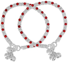 Memoir Silver Plated Flat Strand red CZ Studded Traditional Ethnic Jewellery Anklet for Women...