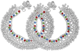 Memoir Silver Plated Broad, Colourful CZ Studded ghungru, Traditional Payal, Pajeb Anklet Fashion Women Foot Jewellery