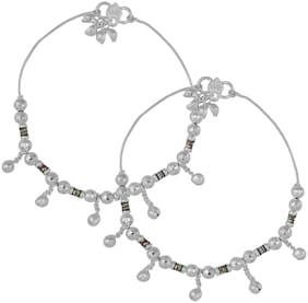 Memoir Silver Plated Meenakari Ball Bead Traditional Payal, Pajeb Anklet Fashion Women Foot Jewellery