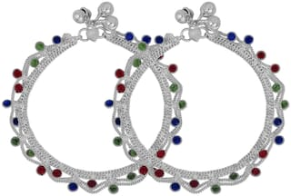 Memoir Silver plated brass;Colourful CZ studded;double strand style Anklet Women Traditional Brass Anklet (Pack of 2)