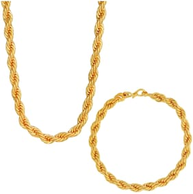 Memoir Yellow Gold Plated;Combo of Rope Design Thick Chain Necklace and Matching Bracelet Jewellery Chain Necklace Bracelet