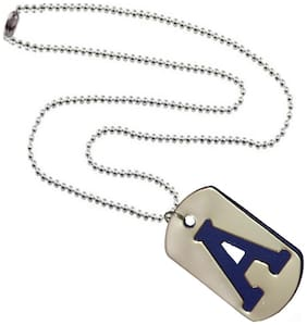Men Style Alphabet A Letter Silver And Blue 317 L stainless Steel Square Pendent For Men