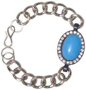 Men Style Blue And Silver Bracelet