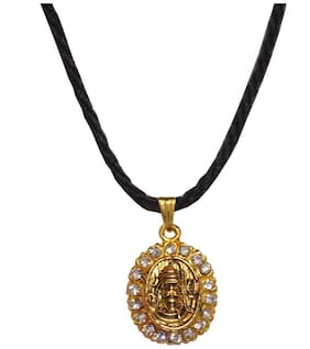 Men Style Crystal Shri Shiv Gold With Cotton Dori Chain Alloy Oval Pendent For Men