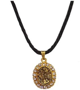 Men Style Crystal Maa Durga With Cotton Dori Chain Gold Alloy Oval Pendent For Men And Women