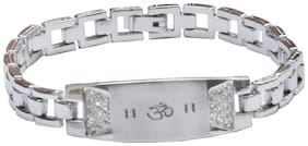 Men Style Cubic Zirconium Crystal Om   Silver   Stainless Steel Link Bracelet For Men And Women