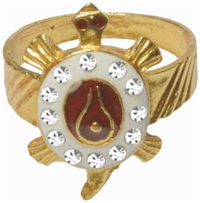Men Style Cubic Zircon  Shivling Turtle Or Tortiose  Gold And White And Red Brass Ring For Unisex