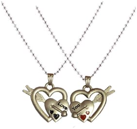 Men Style Her And His Couple Love Arrow Silver Alloy Heart Pendent For Men