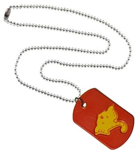 Men Style Loard Shree Ganesh Red And Yelloe 316 L stainless Steel Square Pendent For Men