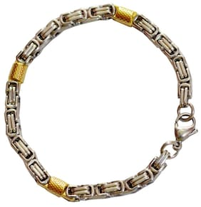 Men Style Personalized Mens Flat Byzantine Dual Tone Jewelry Chain Gold and Silver Stainless Steel Round Bracelet For Men And Boys