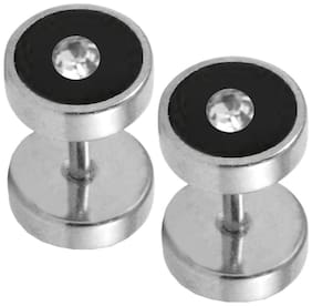 Men Style Round Barbell Dumbells Piercing Combo (1 Pair) SEr005019 Silver and Black Stainless Steel Dumbbell Stud Earring Men and Women