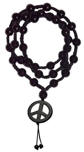 Men Style Shamballa 5mm Crystal Beaded Necklaces Jewelry With 43mm Width Peace Sign Symbol Black Cotton Dori And Crystal Round Chain