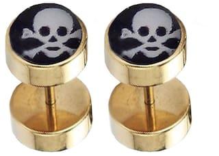 f03637bf5 Men Style Skull Round Barbell Dumbells Piercing Combo (1 Pair) SEr005021  Gold, Black
