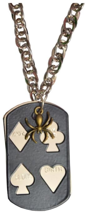 Men Style Spider With Card Black Stainless Steel card Pendent For Men And Boys